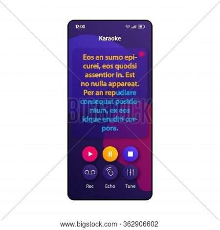 Karaoke Fun Smartphone Interface Vector Template. Mobile App Page Violet Design Layout. Song Lyrics,