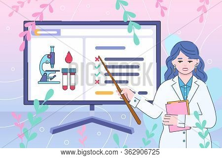 Doctor Explains Medical Test Results. Online Laboratory Diagnostics - Vector In Flat Style