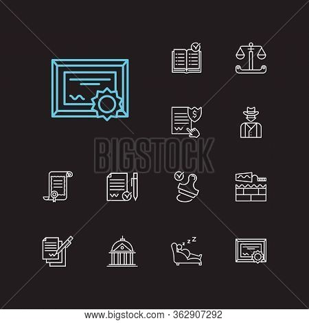 Law Icons Set. Stamp And Law Icons With Building, Penalty And Law. Set Of Person For Web App Logo Ui