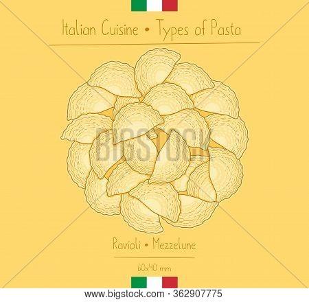 Italian Food Haf-circular Ravioli Pasta Aka Mezzelune, Sketching Illustration In The Vintage Style