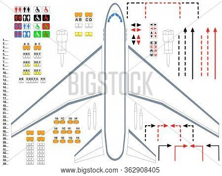 Plane. Illustration Of Airplane Parts For The Assembly Of The Cabin. A Universal Set Of Airplane Fra