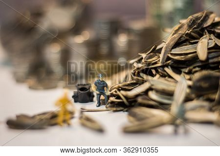 Miniature People : Workers Work On The Sunflower Seed Production Process. (sunflower Seed Business C
