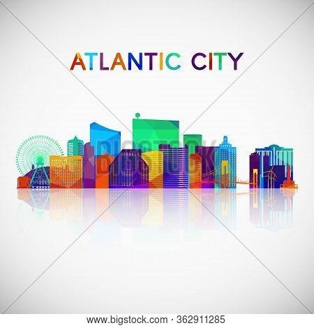 Atlantic City Skyline Silhouette In Colorful Geometric Style. Symbol For Your Design. Vector Illustr