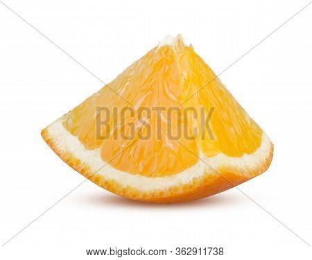 Orange Slice Isolated On White Background. Juicy Ripe Orange Fruit Sliced Close Up. Tasty Refreshing