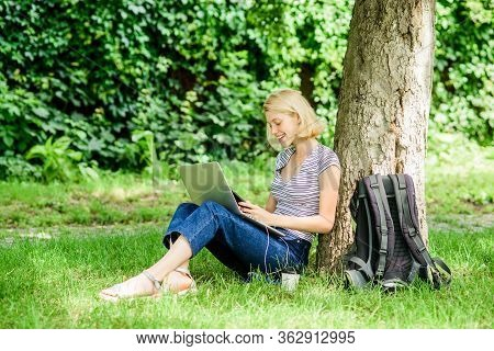 Nature Essential Wellbeing And Ability Be Productive. Girl Work With Laptop In Park. Reasons Why You