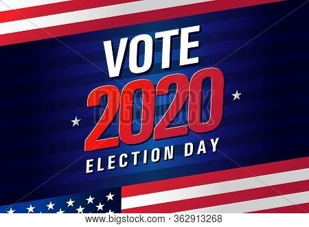 Vote 2020 In Usa, Banner Design. American Patriotic Background Election Day. Usa Debate Of President