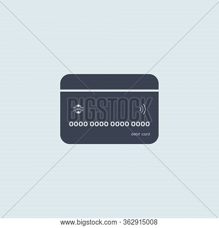 Bank Credit Or Debit Card In Flat Simple Style On White Blue Background. Concept Finance. Vector Sym
