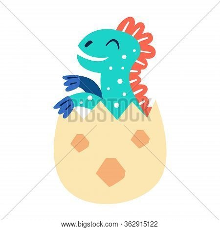 Little Cute Blue Baby Dino In The Egg. Prehistoric Animals. Jurassic World. Paleontology. Reptile. A