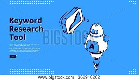 Keyword Research Tool Banner With Isometric Chart On Blue Background. Vector Landing Page Of Seo Opt