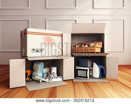 Concept Of Delivery Of Goods For Home Repair Goods Furniture And Household Appliances In Open Boxes