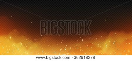 Realistic Fire With Smoke And Weld Sparks, Flame Isolated On Transparent Background. Burning Campfir