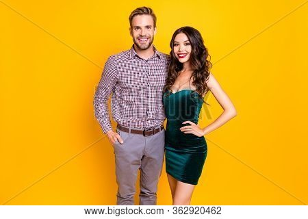 Photo Of Attractive Funny Lady And Guy Students Ready To Celebrate Prom Graduation Party Get Dressed