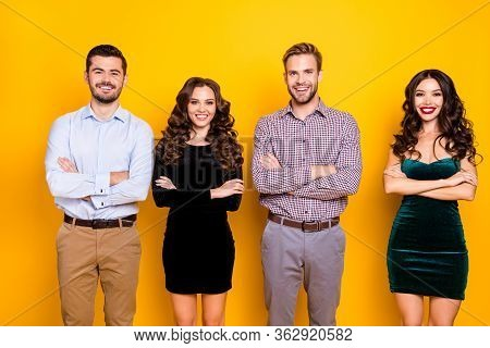 Portrait Of Attractive Two Fancy Ladies Macho Guys Four Company Students Couples Graduation Party Ph
