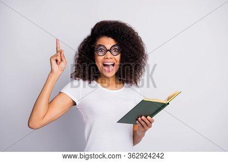 Close-up Portrait Of Her She Nice Amazed Cheerful Cheery Brainy Genius Wavy-haired Girl Nerd Reading
