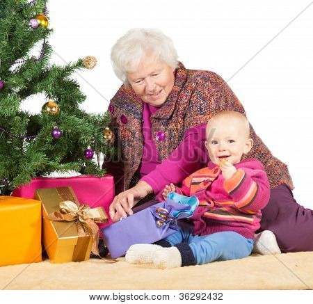 Grandmother Babysitting Young Baby