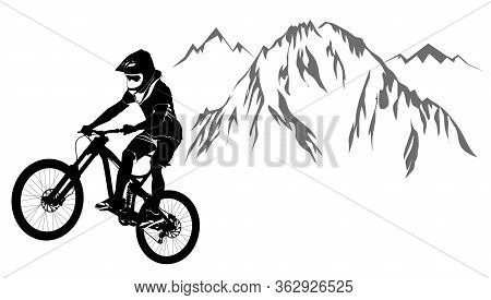An Image Of A Cyclist Descending On A Mountain Bike On A Slope - Vector