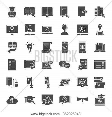 Online Learning Solid Web Icons. Vector Set Of Education Glyphs.