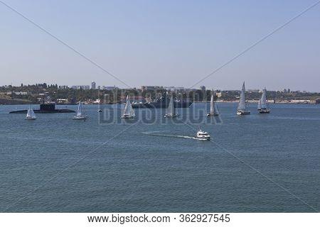 Sevastopol, Crimea, Russia - July 28, 2019: Dmitry Rogachev Patrol Ship Takes Place At The Parade In