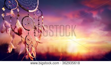 Dreamcatcher Indian Talisman At Sunset - Spiritual Totem
