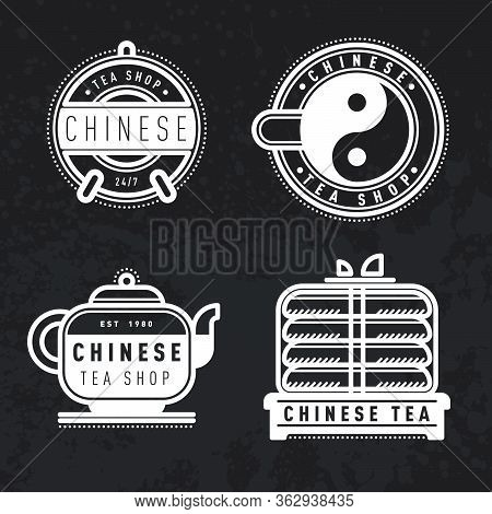 Vector Chinese Tea Logo, Badge, Label. Popular Asian Drink Badge, Poster. Decoration, Print. Typogra