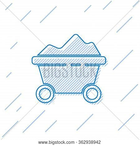 Blue Line Coal Mine Trolley Icon Isolated On White Background. Factory Coal Mine Trolley. Vector Ill