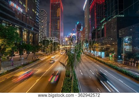 Hong Kong - 2020: Gloucester Road At Night From Above
