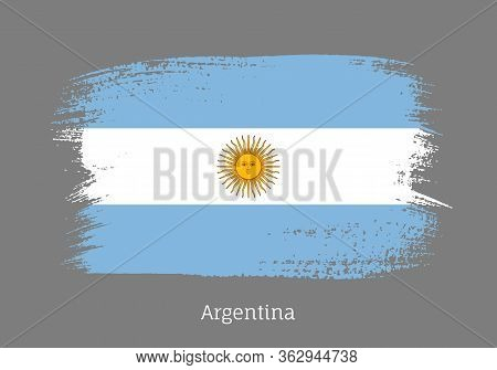 Argentina Republic Official Flag In Shape Of Paintbrush Stroke. Argentinian National Identity Symbol