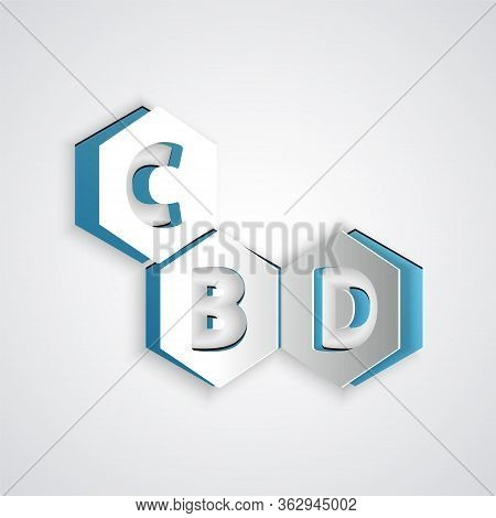 Paper Cut Cannabis Molecule Icon Isolated On Grey Background. Cannabidiol Molecular Structures, Thc