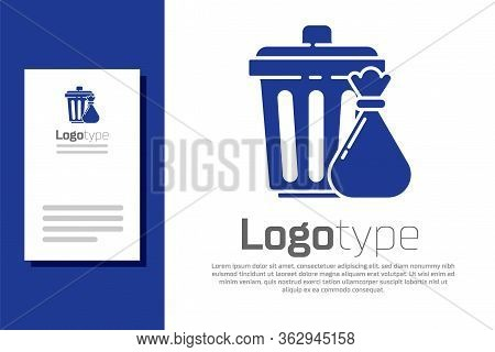 Blue Trash Can And Garbage Bag Icon Isolated On White Background. Garbage Bin Sign. Recycle Basket I