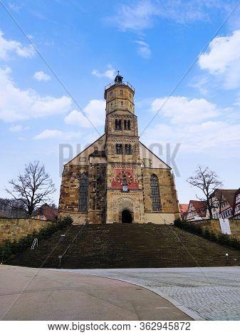Schwaebisch Hall, Germany - January 02, 2020: Church Sankt Michael In Schwaebisch Hall, Marketplace