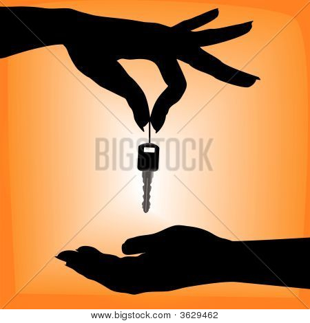 Silhouette Person Drops Car Key Into A Cupped Hand.