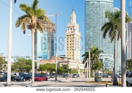 Miami,usa-march 16,2018:view Of The Freedom Tower Between The Skyscrapers In Downtown Miami On The B