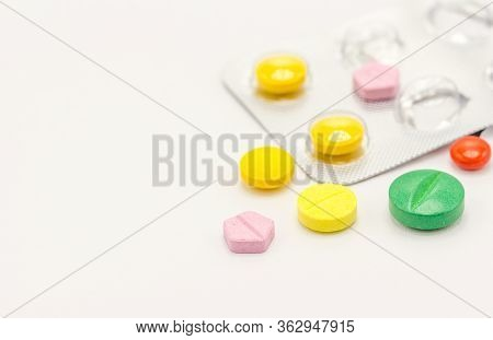 Different Kind Of Medicines. Medicine And Healthy. On White Background