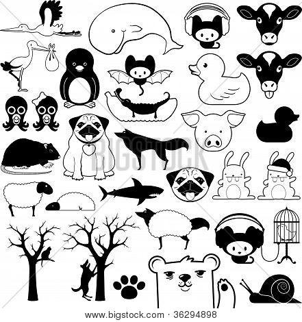 Set of cartoon animal icons