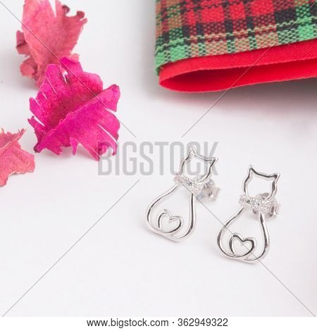 A Pair Of Beautiful 925 Sterling Silver Earrings In Cat Shape Decorated With Cubic Zirconia Isolated