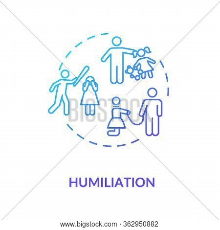 Humiliation Concept Icon. Children And Partner Physical And Emotional Abuse Idea Thin Line Illustrat