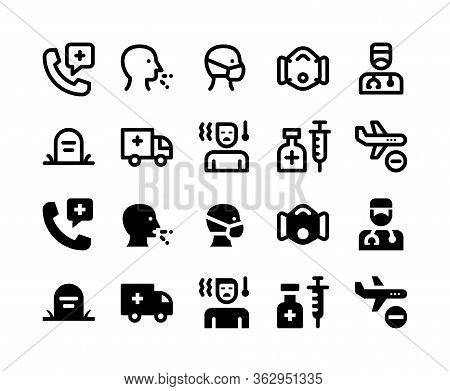 Simple Set Of Coronavirus Vector Glyph And Line Icons Including Medical Call, Cough, Wearing Mask, M