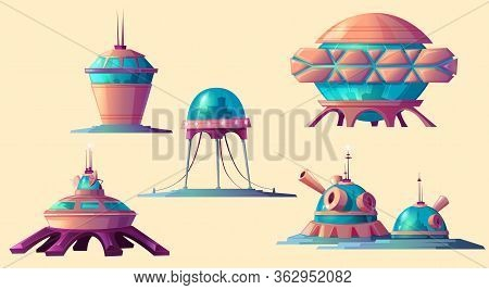 Space Colonization Set. Spaceship, Rocket, Shuttle And Buildings For Universe And Alien Planet Explo