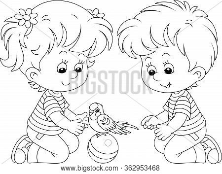 Cheerful Little Children Playing With A Funny Small Parrot With A Long Tail, Black And White Outline