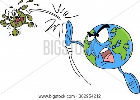 Dangerous And Infectious Corona Virus Cartoon Vector Illustration