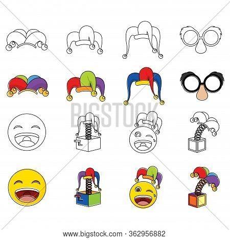 Set Of April Fools Icons. Harlequin Hat, Joke Box, Joke Mask And Happy Emojis - Vector