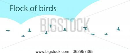A Flock Of Small Passerine Or Forest Birds Against The Sky. Vector Isolated Illustration.