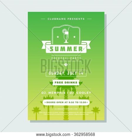 Summer Holidays Beach Party Flyer Typography Night Club Event Label Design.