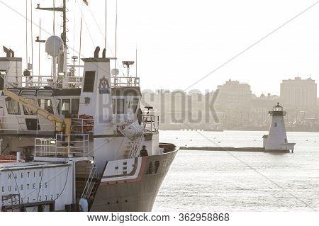 New Bedford, Massachusetts, Usa - May 29, 2018: Surveying Ship Gerry Bordelon, Hailing Port New Orle