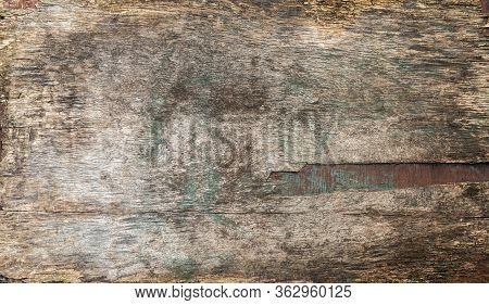 Surface Texture Of Old Plywood With Traces Of Paint In Panoramic Format.