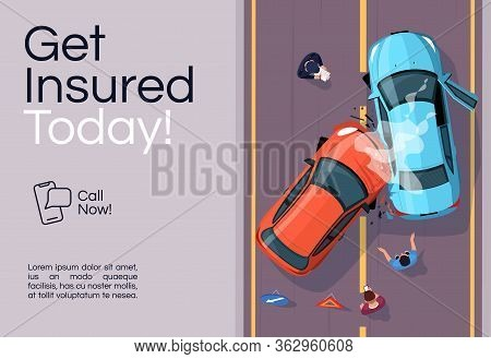 Insurance Services Banner Template. Accident Aid. Commercial Horizontal Flyer Design With Semi Flat