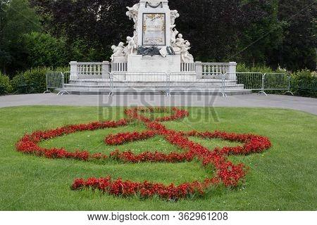 Vienna, Austria - June 6, 2019: Monument Of Mozart In Burggarten, Vienna