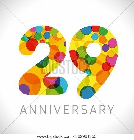 29 Th Anniversary Numbers. 29 Years Old Multicolored Congrats. Cute Congratulation Concept. Isolated
