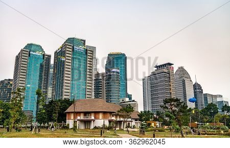 Jakarta, Indonesia - August 3, 2019: View Of Senayan Business District In Jakarta, The Capital Of In
