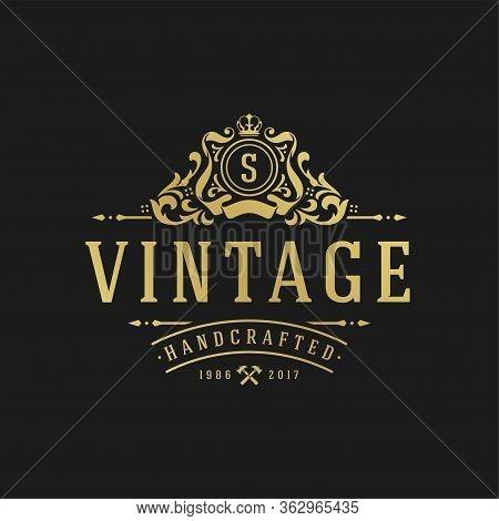 Luxury Logo Design Template Vector Illustration Victorian Vignettes Royal Ornament Shapes For Logoty